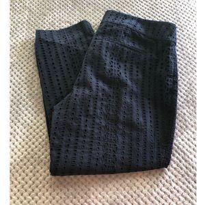 Ann Taylor Loft Navy Blue Eyelet Lace Pants